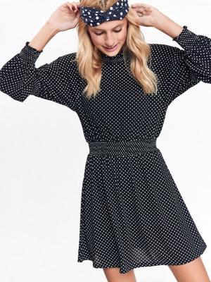 60622cbfff99 Top Secret šaty dámské černé s puntíky a dlouhý rukáv – Dressention.cz